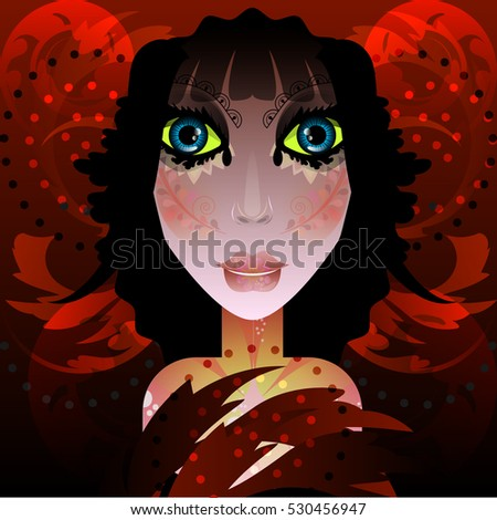 illustration of woman in dark
