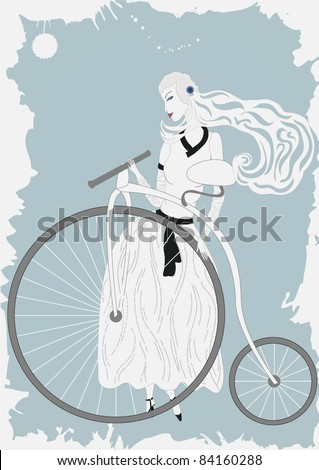Illustration of woman in vintage dress with old bicycle