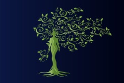 Illustration of woman in woven wood with beautiful branched crown, symbolizing the goddess of fertility and nature. Green crown on a blue background.