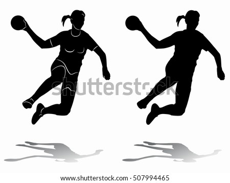 illustration of woman playing handball . black and white drawing, white background