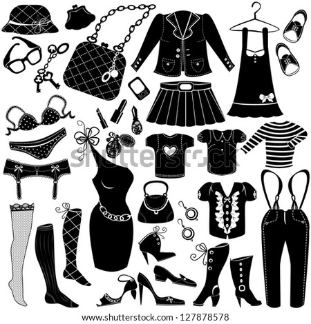Illustration of Woman's clothes, Fashion and Accessory icon set