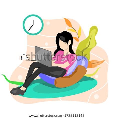 illustration of woman sitting playing computer. Premium vector. Illustration girl and boy. komputer Zdjęcia stock ©