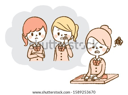 Illustration of woman suffering from bad words