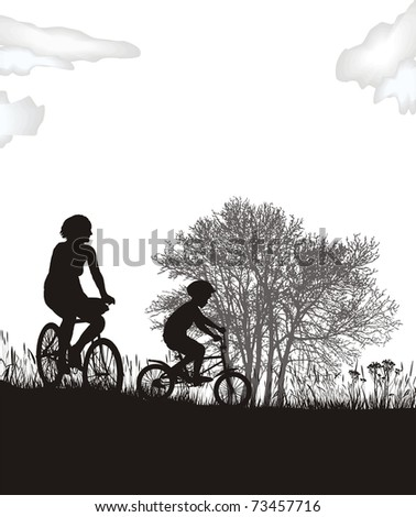 illustration of women and a boy in the countryside on bicycles