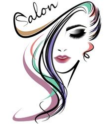 illustration of women long hair style icon, logo women face on white background, vector