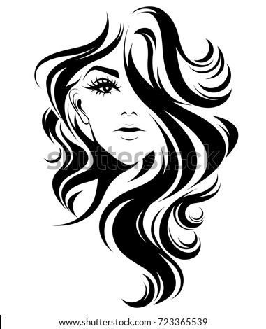 vector hair style stock free vector hairstyles 123freevectors 6515 | stock vector illustration of women long hair style icon logo women on white background vector 723365539