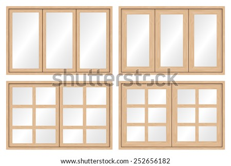 illustration of wood window set