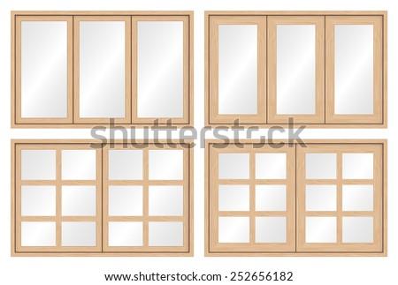 illustration of wood window set