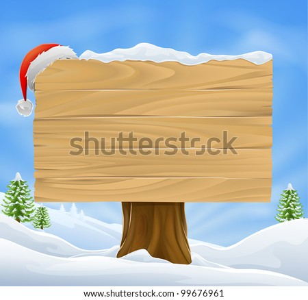 Illustration of wooden Christmas sign with snow and Santa hat hanging from it against a winter landscape.