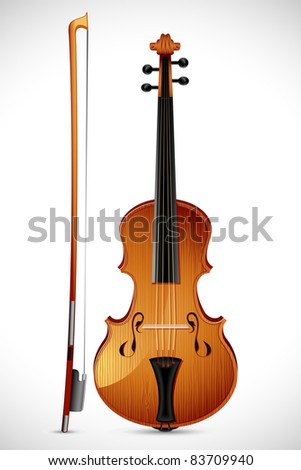 illustration of wooden violin with stick on abstract background
