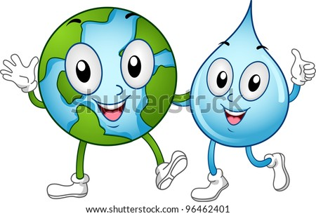 Illustration of World and Water Mascots Walking Together