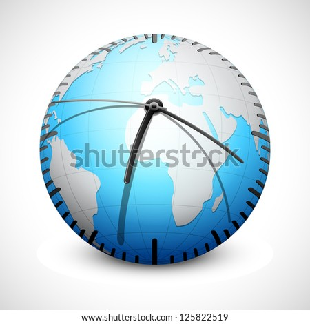 illustration of world clock on abstract background