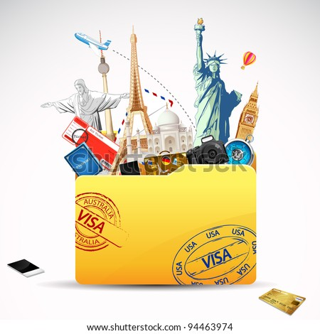 illustration of world famous monument and travel element in folder - stock vector