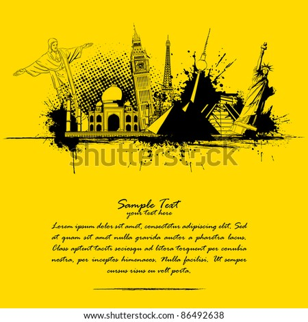 illustration of world famous monument in grungy travel background