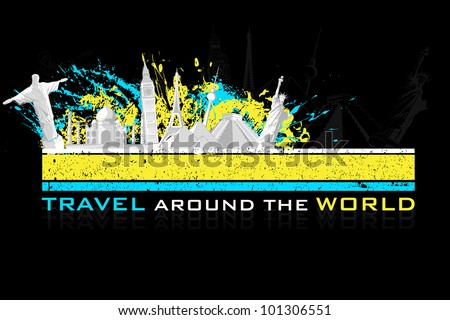 illustration of world famous monument on colorful grungy background