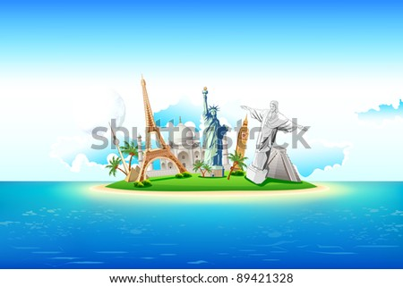 illustration of world famous monument on island in sea
