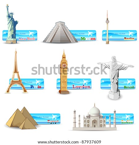 illustration of world famous monument with air ticket of different countries