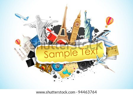 illustration of world famous monument with travel element - stock vector