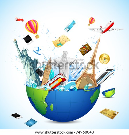 illustration of world famous monuments coming from globe with air tickets - stock vector