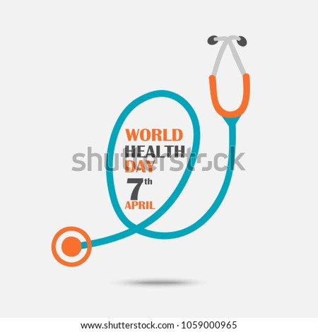 Illustration of World health day concept text design with doctor stethoscope.