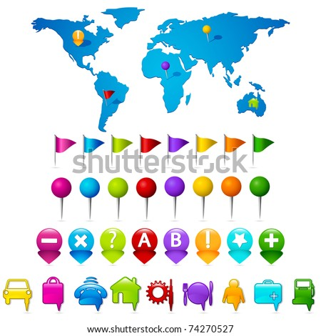 illustration of world map with set of gps indicator button - stock vector