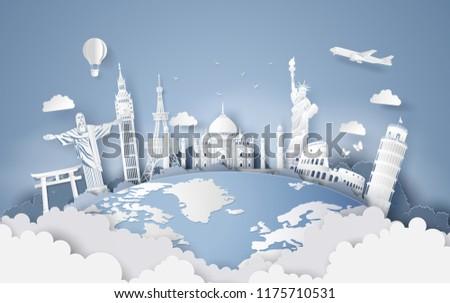 Illustration of world tourism day, Paper art stlye.