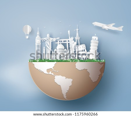 Illustration of world tourism day, Paper art stlye.