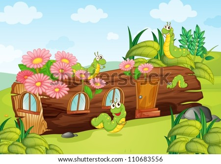 illustration of worms and wooden house