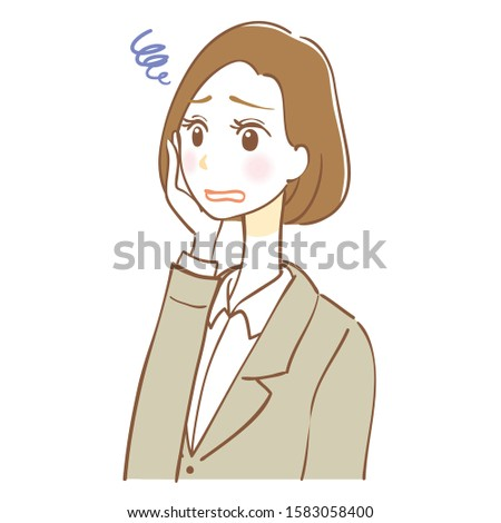 Illustration of worried business woman