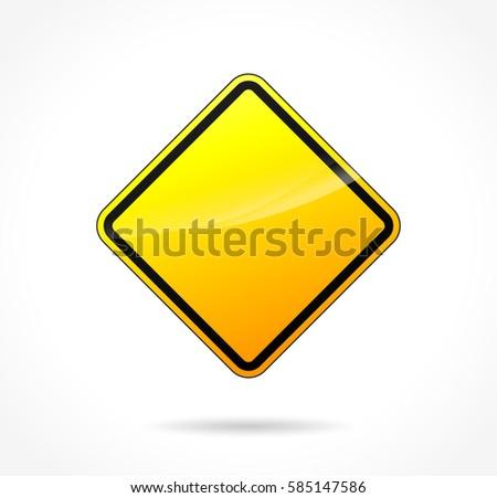 Illustration of yellow warning blank sign #585147586
