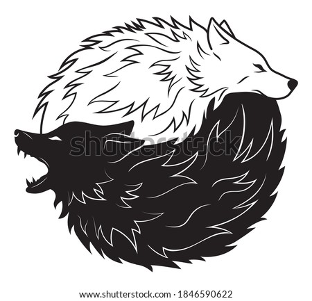 Illustration of yin yang wolf. Portrait of black and white dogs of yin yang. Vector illustration for the children. Tattoo. Stock photo ©