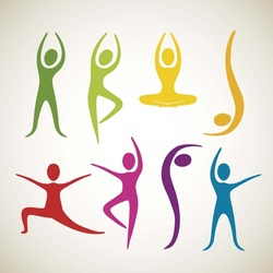 Illustration of yoga and dance positions, vector illustration