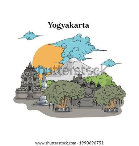 Illustration of Yogyakarta landmark. Hand drawn Indonesian illustration. Borobudur temple, Prambanan temple, Tugu Jogja.