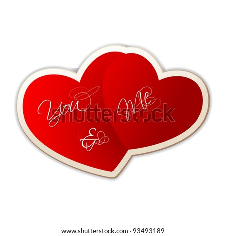 illustration of you and me on heart shape sticker on love background