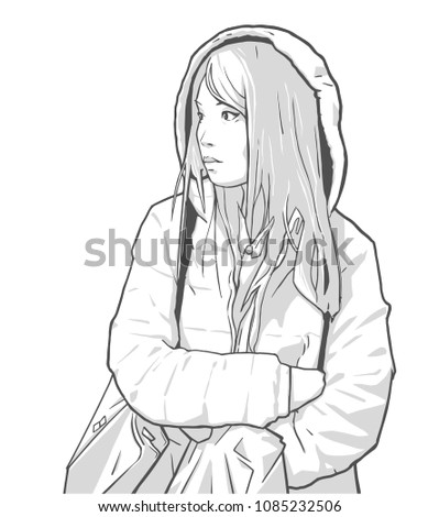 Illustration of young asian girl shopping in winter clothing, facing left