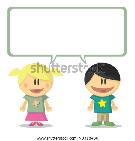 illustration of young boy and young girl vector