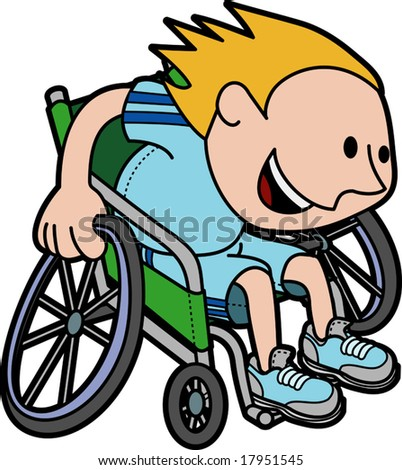 Illustration of young boy athlete racing in wheelchair