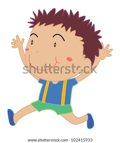 Illustration of young boy running
