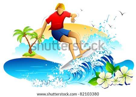 illustration of young man surfing on sea waves