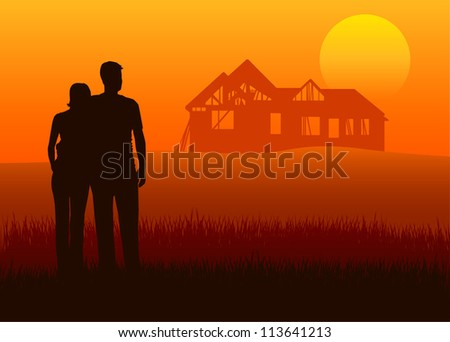 Illustration of young married couples with house construction
