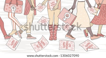 Illustration of young women walking in the street on international women's day, girl distributing flyers that say