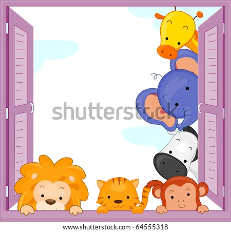 Illustration of Zoo Animals Peeping at the Window