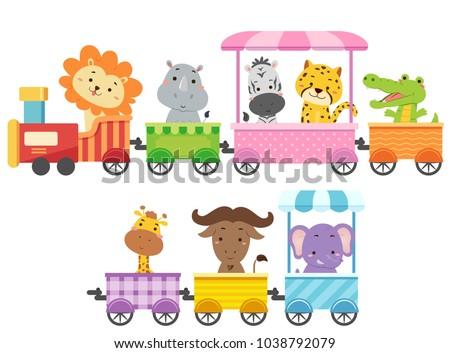 Illustration of Zoo Animals Riding a Colorful Train from Lion, Rhinoceros, Zebra, Cheetah, Alligator, Crocodile, Giraffe, Buffalo to Elephant