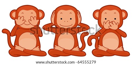 Illustration ofa Group of Monkeys Representing the See No Evil, Hear No Evil, Speak No Evil Proverb