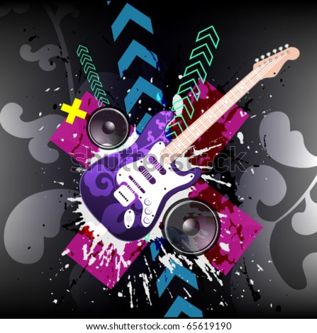 Illustration on a musical theme with electric guitar - stock vector