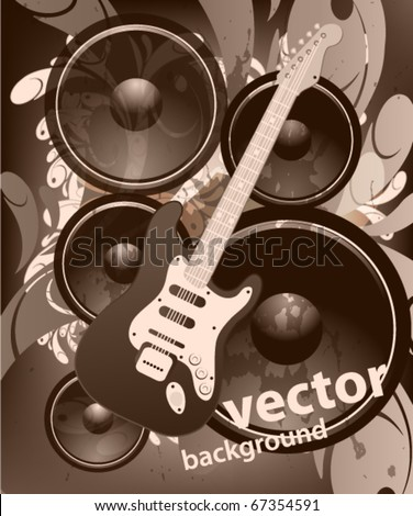 Illustration on a musical theme with electric guitar. grunge retro background