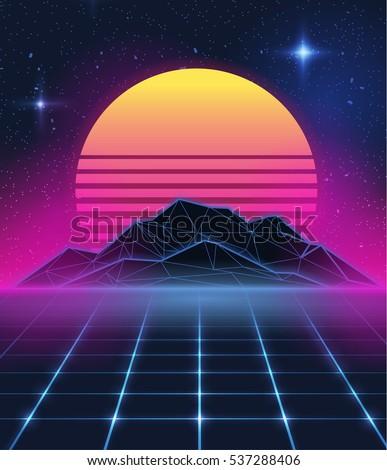 Illustration on a theme - new retro wave. background, sticker
