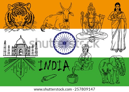 illustration on the theme of India. Attractions on the background of the flag.
