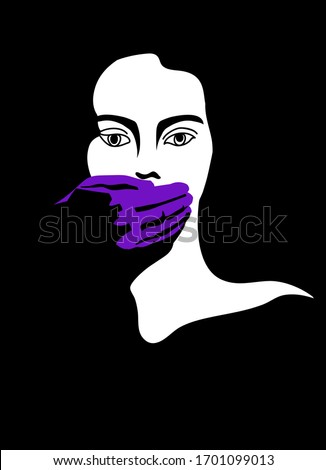 Illustration on the topic of domestic violence in a minimalistic style. Woman with a male's hand on her mouth. Can be used as a poster. Violet black and white colour. Stock fotó ©