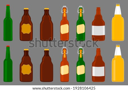Illustration on theme big kit beer glass bottles with lid for brewery. Pattern beer consisting of many identical glass bottles on dark background. Glass bottles it main accessory for beer gourmet. Stok fotoğraf ©
